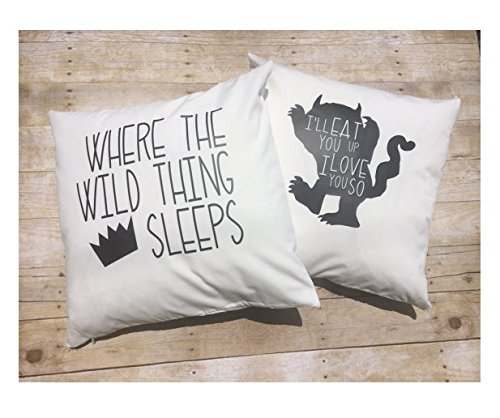 Nursery Bedding Set, Custom 16x16, Set 2 of Wild Thing pillow covers , baby boy bedding , Where the Wild things Are , Crown pillow cover, boy room décor, Halloween Gift boy room décor