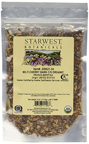 1 X Wild Cherry Bark Cut & Sifted Organic - Prunus serotina, 4 Oz,(Starwest Botanicals)