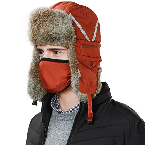 Rabbit Fur Aviator Trapper (Siggi 100% Rabbit Fur Trapper Hat Aviator Earflap Hat Windproof Trooper Winter Hat For Women Men With Mask Soviet Russian Ushanka)
