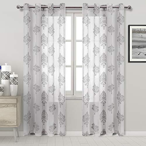 DWCN Sheer Curtains Faux Linen Burnout Damask Semi Sheer Bedroom Curtains 52 x 84 inches Long Window Curtain Panels, Grey Set of 2