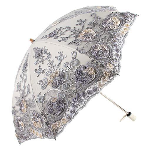 Honeystore Wedding Lace Sun UV Parasol 2 Folding 3D Flower Embroidery Umbrella H7207 Grey