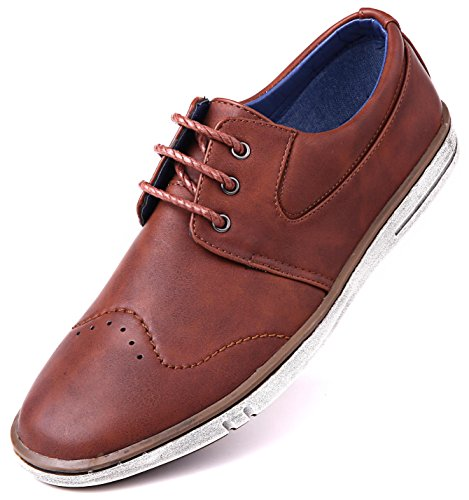 Mio Marino Mens Dress Shoes - Fashion Casual Oxford Shoes for Men - Countryside Rugged Shoes - Tan Cognac - 10.5 D(M) US