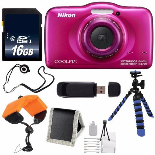 Nikon COOLPIX S33 Digital Camera (Pink) International Model + 16GB Card + Floating Strap + 12-Inch Flexible Tripod + USB Reader + Cap Keeper