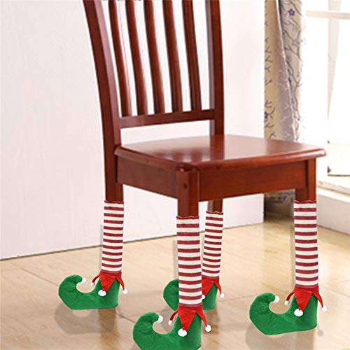 Party Diy Decorations - Est 4pcs Set Christmas Chair Leg Cover Socks Xmas Party Table Desk Feet Diy Year Decoration - Christ Halloween Cloth Pot Rest Japanese Flower Xlr Jesus Blue