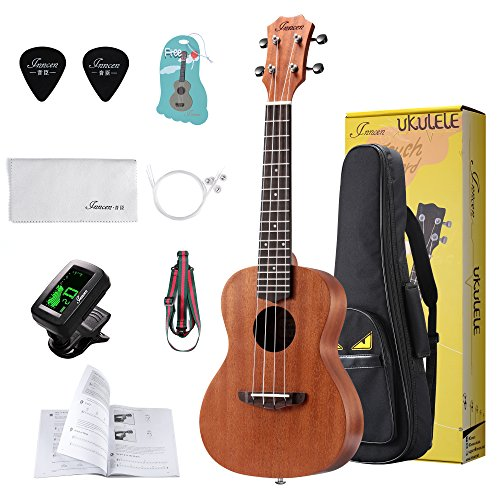 Concert Ukulele, 23 Inch Mahogany Ukuleles For Beginners, Waterproof Resistance Soprano Ukulele For Kids with Free Video Ukulele Lessons, Gig Bag, Tuner, Strap, String And Picks by Inncen