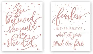 She Believe She Could So She Did-Be Fearless In The Pursuit Of What Sets Your Soul On Fire With Polka Dot Rose Gold Foil Print,Inspirational Quote Cardstock Art Print (Set of Two,8x10 inch,UNFRAMED)