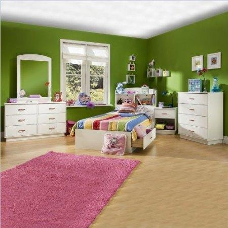 South Shore Logik Kids Wood White Captain's Bed 5 Piece Bedroom Set by South Shore