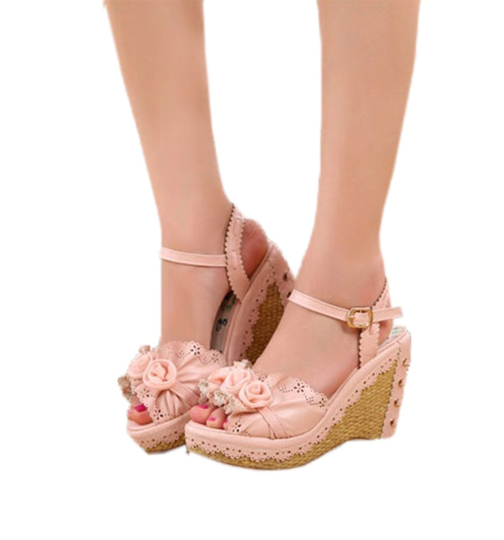 Nuoqi Womens Lolita Sweet Rose Flower Pink High Heel Slingback Wedges Sandals B073B2JL5S 6.5|Rose-pink
