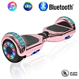 NHT 6.5'' Hoverboard Electric Self Balancing Scooter Sidelights - UL2272 Certified Black, Blue, Pink, Red, White or Chrome Style (Chrome Rose Gold)