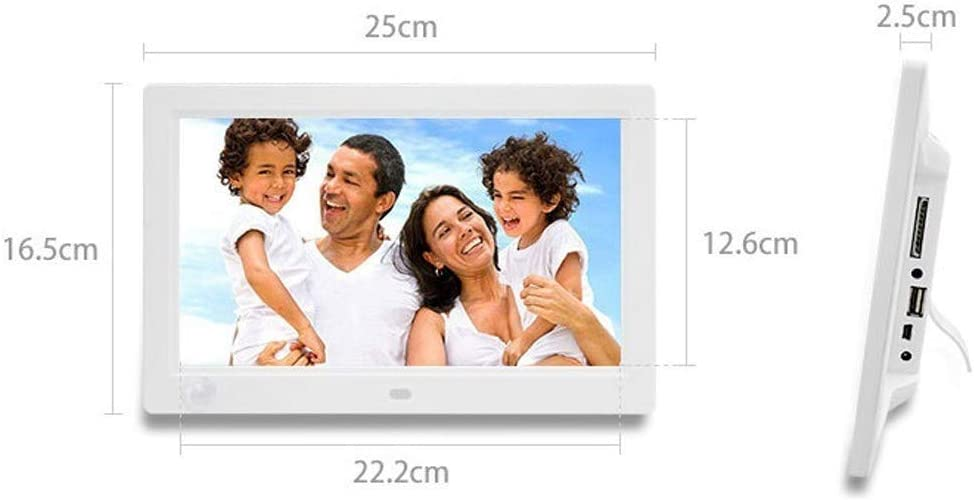 WanZhuanK 10 inch Digital Photo Frame,HD 19201080 High Resolution Support MP3 JPG Format Photo//Music//Video Player Calendar Alarm with Wireless Remote Control,White