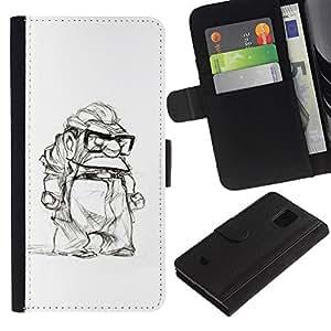 KingStore / Leather Etui en cuir / Samsung Galaxy S5 Mini, SM-G800 / Man retraités Blanc Noir