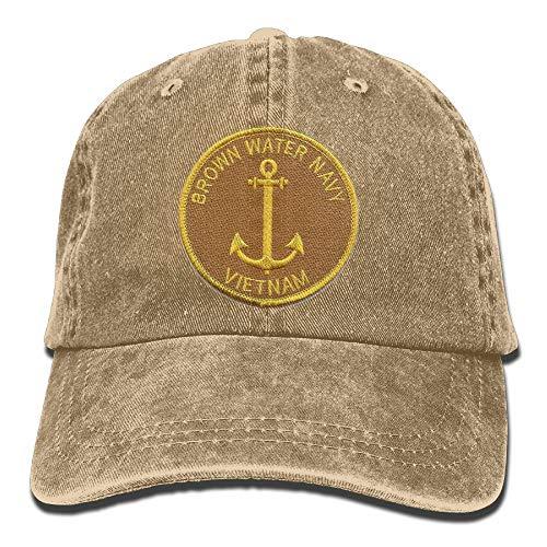 Brown Water Navy Vietnam Plain Adjustable Cowboy Cap Denim Hat for Women and Men