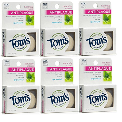 Tom's of Maine Natural Waxed Antiplaque Flat Floss, Spearmint, 32 Yards, (Pack of 6)