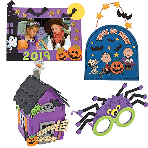 Spider Crafts For Halloween (Halloween Craft Kit DIY | 3D Haunted House, Dated Picture Frame Magnet, Snoopy Trick or Treat Door Sign, & Children Spider Glasses | Kids Boys & Girls Family Holiday Activities)