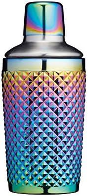 KitchenCraft BarCraft Verzierter Boston Cocktail Shaker, 300 ml Schillerndes Finish mit Regenbogenschimmer, Glas, Mehrfarbig, 8 x 8 x 17.5 cm, 1 Einheiten