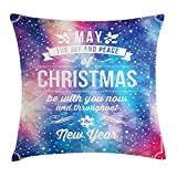 48 Inch Square Ottoman YVSXO Christmas Throw Pillow Cushion Cover, Polygonal Abstract Dotted Backdrop Happy New Year Celebration Quote Joy and Peace, Decorative Square Accent Pillow Case, 18 X 18 inches, Multicolor