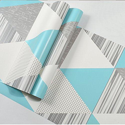 Verde Azulado Gris 10Mx53Cm Wp55503 Papel Pintado geom/étrico Moderno Rollo Tri/ángulo Colorido Vinilo Nordic Papel de Pared Decoraci/ón de la Sala de Estar Amarillo