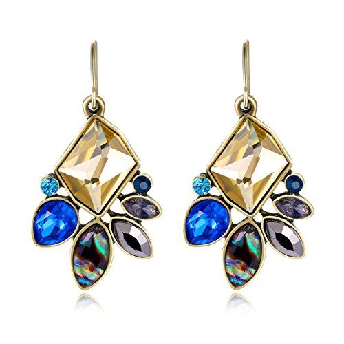 Crystal Rose Florist (Ellena Rose Cubic Zirconia Flower Drop Earrings For Women (Blue))