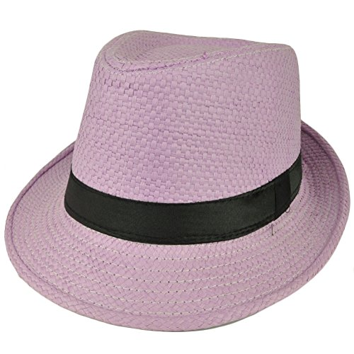 [Fedora Lavender Large Hat Diamond Top Black Pimp Gangster Straw Trilby Gatsby] (Pimp Hat With Feather)