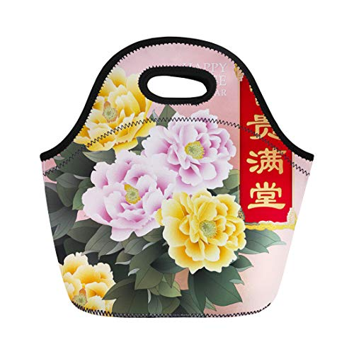 2db8280d3763 Semtomn Lunch Tote Bag Vintage Chinese Flower Painting Greeting Character  Fu Gui Man Reusable Neoprene Insulated Thermal Outdoor Picnic Lunchbox for  ...