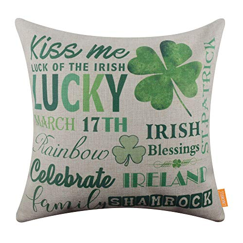 LINKWELL Pillow Cover St. Patrick Day Seasonal Gifts Burlap Decorative Cushion Cover 18x18 inches - Modern Irish Blessings CC1560
