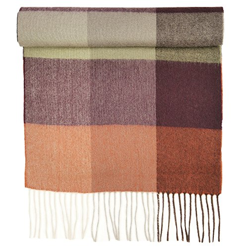 Candor and Class Pure Cashmere Winter Scarf, Solid Colors and Plaids, Mens Womens Unisex, Gift Box (Rust Wine (Rust Cashmere)