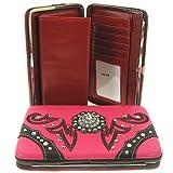 Western Style Rhinestone Medallion Flat Wallet Clutch Purse (pink), Bags Central