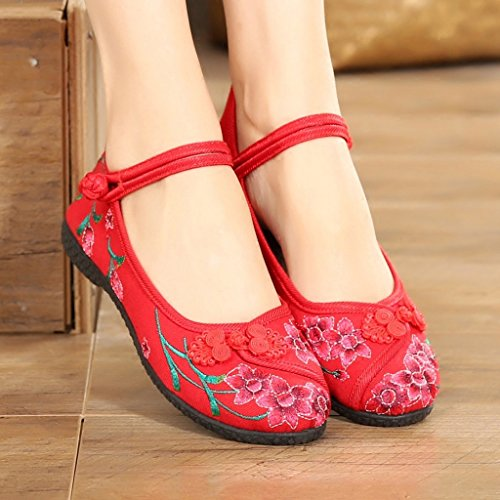 Dream National Style Embroidered Shoes Women's Summer Casual Shoes Spring Flat Bottom Non-Slip Mother Shoes Red Rw6gA