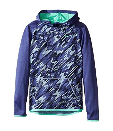 Nike Kids Therma Training Print Hoodie Little Kids/Big Kids Dark Purple Dust/Dark Purple Dust/Green Glow Girls Sweatshirt