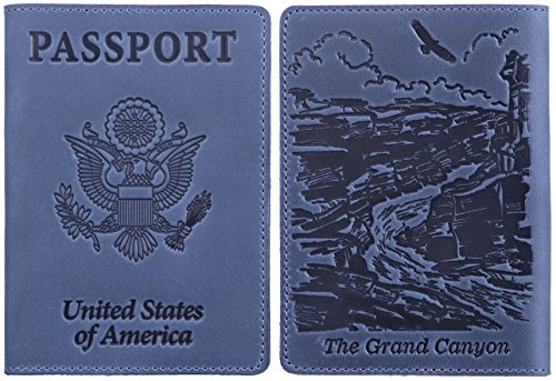 d959bd31b Leather Passport Cover - the Grand Canyon embossing - Leather Passport  Holder Collection 'Love America