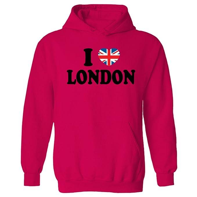 Flip para Mujer I Love diseño de la Bandera británica de Londres de corazón con Sudadera con Capucha: Amazon.es: Ropa y accesorios