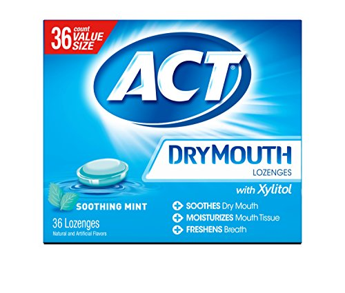 - ACT Dry Mouth Lozenges Soothing Mint 36 Count Soothing Mint Flavored Lozenges with Xylitol Help Moisturize Mouth Tissue to Sooth and Relieve Discomfort from Dry Mouth, Freshens Breath