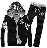 Pandapang Mens Athletic Print Hooded Jacket and Sweatpants Tracksuits Set Black X-Large