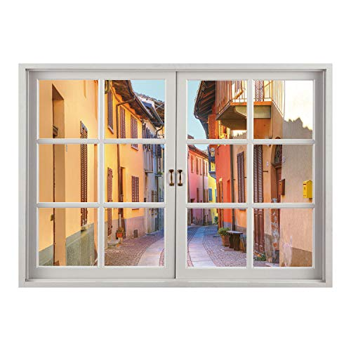 Pave Multi Frame - SCOCICI Window Frame Style Home Decor Art Removable Wall Sticker/Italy,Narrow Paves Street Among Old Houses in Town Serralunga DAlba Piedmont Decorative,Pale Orange Brown Pink/Wall Sticker Mural