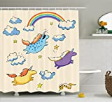 Unicorn Shower Curtain Set by Ambesonne, Pastel Colored Illustration of Several Flying Pony Baby Unicorns in the Air , Fabric Bathroom Decor with Hooks, 75 Inches Long, Multi