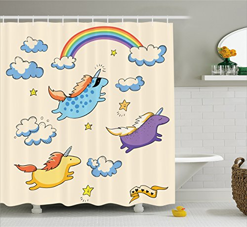 Unicorn Shower Curtain Set by Ambesonne, Pastel Colored Illustration of Several Flying Pony Baby Unicorns in the Air , Fabric Bathroom Decor with Hooks, 70 Inches, Multi