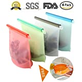 4 Pack Reusable Silicone Food Storage Bag - Clear Reusable Food Grade Silicone, Eco Friendly and BPA Free, Ideal for Storage and Freezer Food, Airtight and Leak Proof
