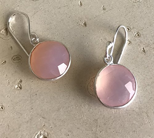 (Pink Chalcedony Round Dangle Silver Earring)