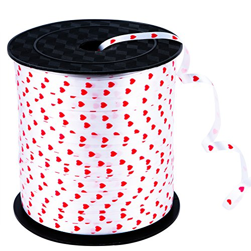 Coobey 300 Yards Curling Ribbon Heart Balloon Ribbons Roll Crimps Ribbon for Valentine's Day Party Festival, Balloon Gift Wrapping, Art Craft, 5mm (White)