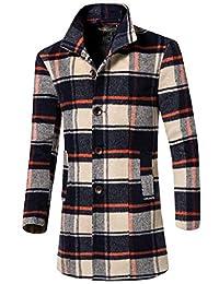 RG-CA Mens Winter Single-Breasted Woolen Coat Trench Coat Overcoat