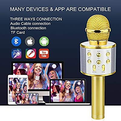 Bluetooth Microphone for Kids, Viposoon Wireless Karaoke Microphone Bluetooth for Girls Boys Toy for 5-11 Year Old Kids Girl Party Gift Age 4-12 Girl Boy - Gold: Musical Instruments