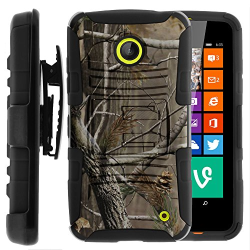Nokia Lumia 635 Case, Nokia Lumia 630 Case, Two Layer Hybrid Armor Hard Cover with Built in Kickstand and Holster Belt Clip for Nokia Lumia 635, 630 (AT&T, Sprint, T Mobile, Cricket, Virgin Mobile, Boost Mobile, MetroPCS) from MINITURTLE | Includes Screen Protector - Hunter Camouflage (Nokia Lumia 635 T Mobile compare prices)