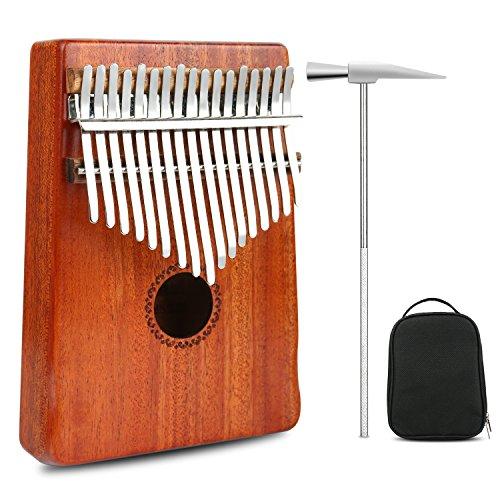 (Thumb Piano Kalimba 17 Keys Finger Piano Mbira Likembe Sanza Professional Series Instrument Gift Solid Mahogany Wood with Protable Portection Bag)