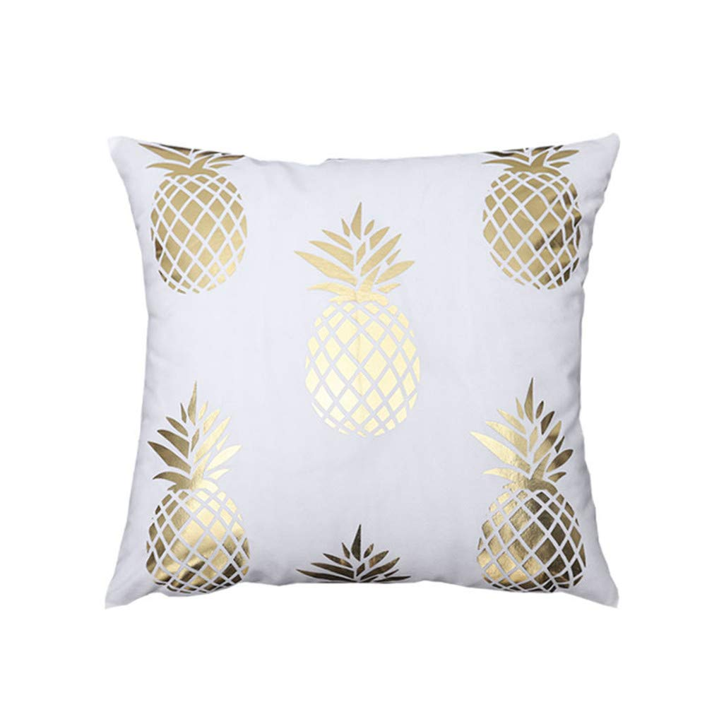 Gold Stamping AYIOU 4 Pack Decorative Cotton Gold Stamping Soft Soild Decorative Outdoor Square Throw Pillow Covers Set Cushion Case for Sofa Bedroom Car 18 X 18 Inch
