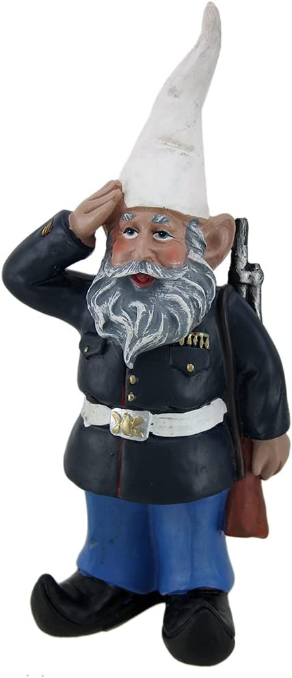 Zeckos 8 inch G.I. George Saluting U.S. Marine Military Garden and Shelf Gnome Statue