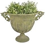 Esschert Design AM70 Oval Aged Metal Urn, Large, Green
