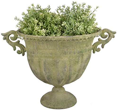 Esschert Design AM70 Oval Aged Metal Urn, Large, Green (Large Outdoor Urns Planters)