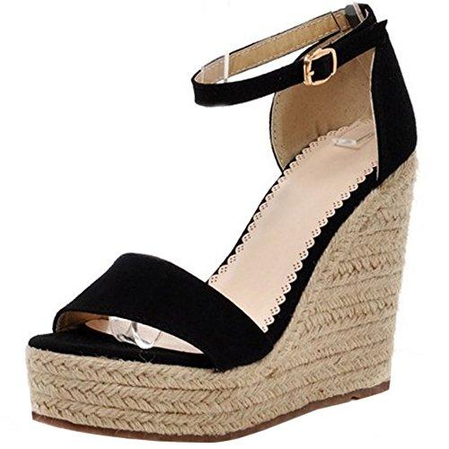 Cuna 2 de Zanpa black Moda Sandalias Tacon Mujer 1qWpAIH