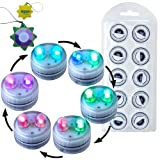 HQRP 10-Pack Super Bright Color Change / Multicolor Waterproof / Underwater Dual LED Illuminated Submersible Flameless Heatless Tea Light Candles for Wedding / Events / Holiday / Party / Light show