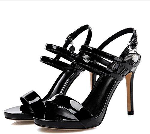 impermeables tacón zapatos piel high hebilla Super palabra Black piel sandalias alta 10cm with Fina zapatos vx1nqCxw